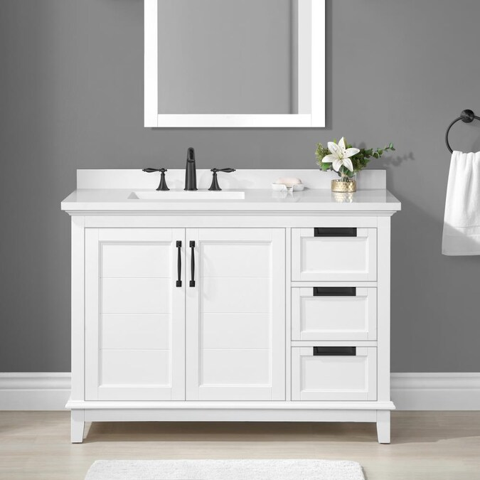 Allen Roth Clarita 48 In White Undermount Single Sink Bathroom Vanity With White Engineered Stone Top In The Bathroom Vanities With Tops Department At Lowes Com