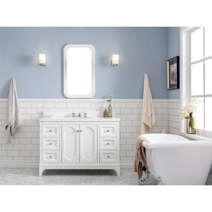 Water Creation Queen 48 In Pure White, What Size Mirror For A 48 Inch Vanity
