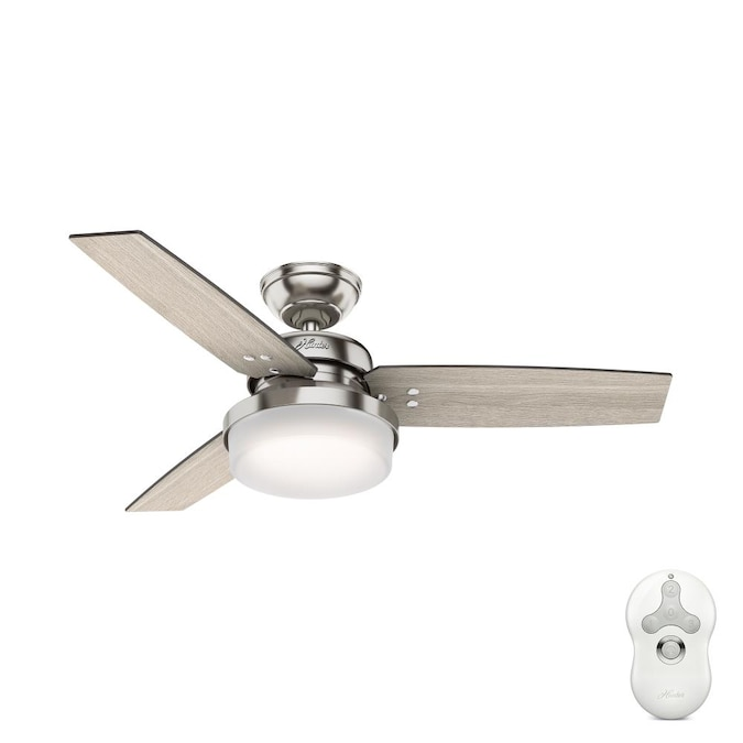 Hunter Sentinel 44 In Brushed Nickel Led Ceiling Fan With Remote 3 Blade In The Ceiling Fans Department At Lowes Com