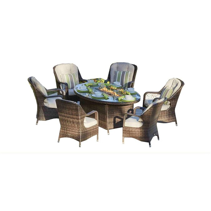 Moda Furnishings Oval 6 Seats Patio Gas, Outdoor Furniture With Gas Fire Pit Table