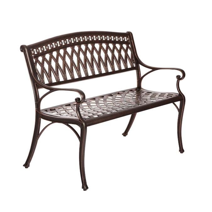 Antique Bronze Garden Bench, Cast Aluminium 2 Seater Garden Bench