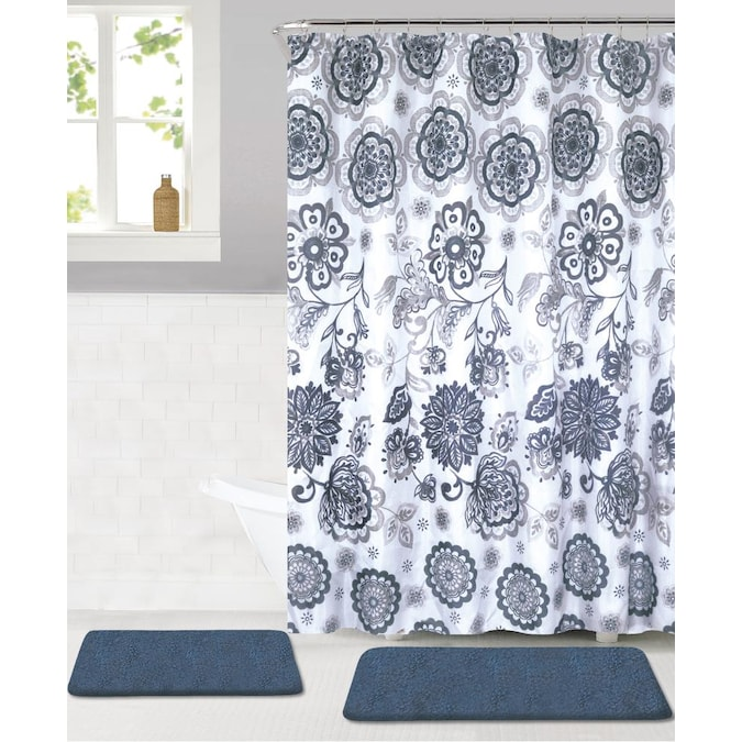 Navy Polyester Bath Rug, Bathroom Sets With Shower Curtain And Rugs