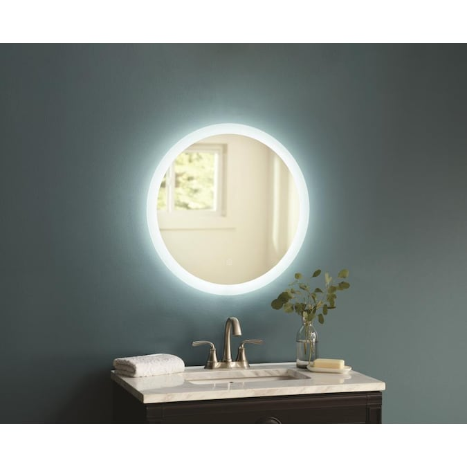 Allen Roth 22 In Lighted Led Fog Free Clear Round Frameless Bathroom Mirror In The Bathroom Mirrors Department At Lowes Com