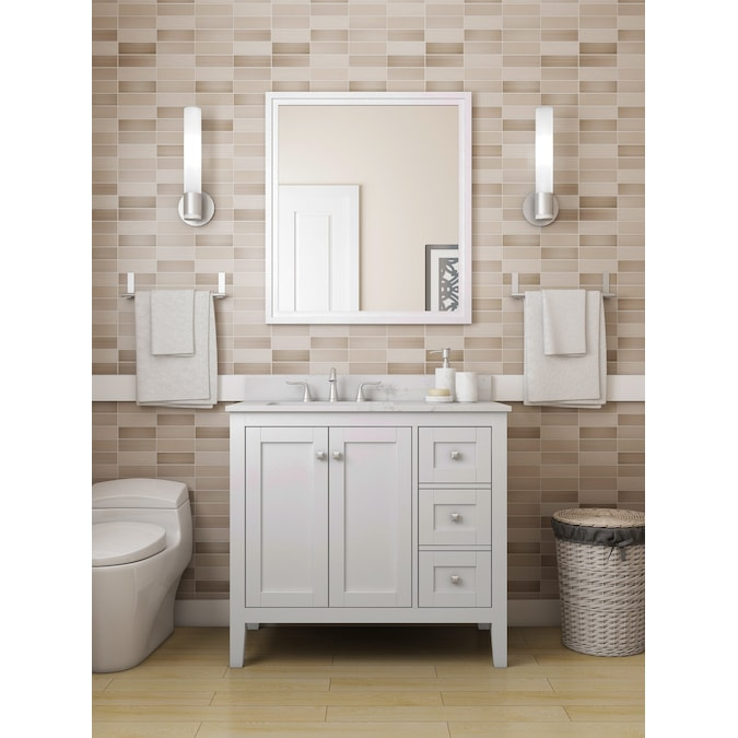 Allen Roth Everdene 36 In White Undermount Single Sink Bathroom Vanity With White Engineered Stone Top In The Bathroom Vanities With Tops Department At Lowes Com