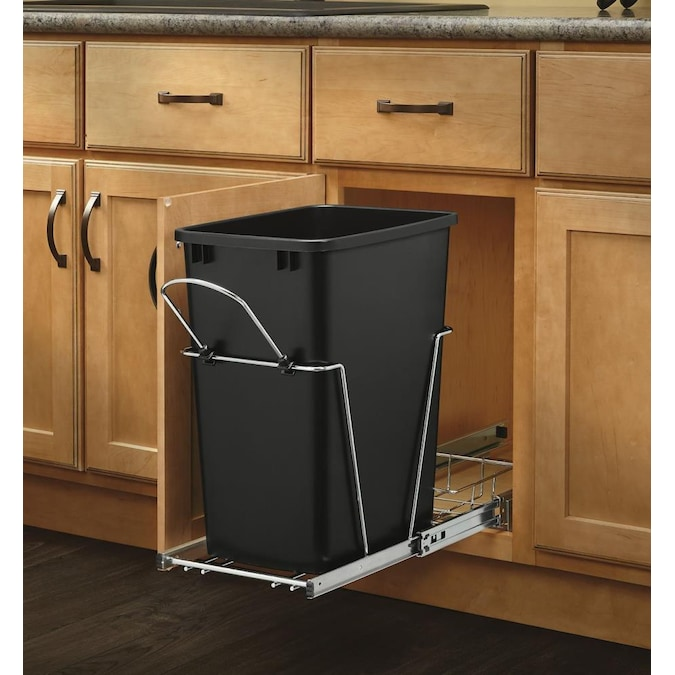 Waste Conta In The Pull Out Trash Cans, Kitchen Cabinet Trash Can Dimensions
