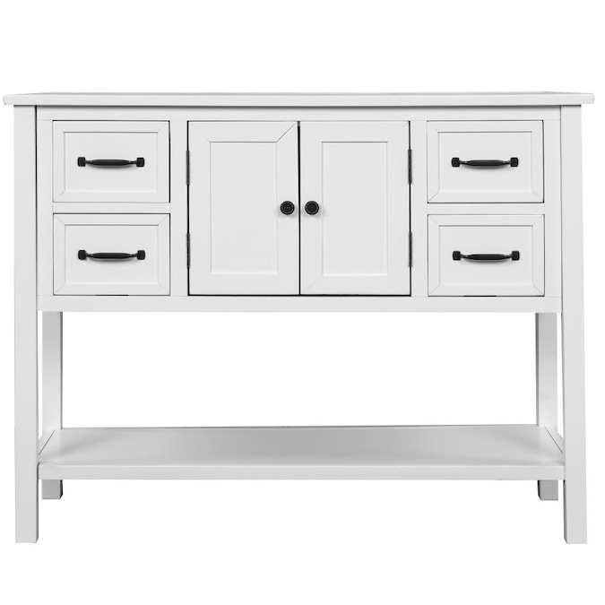 Mondawe 43 Inch Modern Rustic Storage Console Table For Living Room White In The Tables Department At Com - Modern White Console Table With Storage