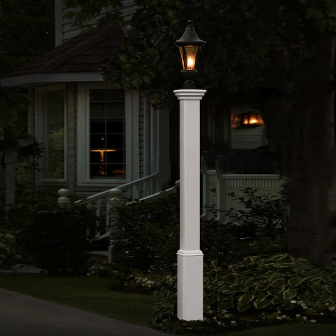 Vita 74 In White Traditional Pole, White Lamp Post With House Number