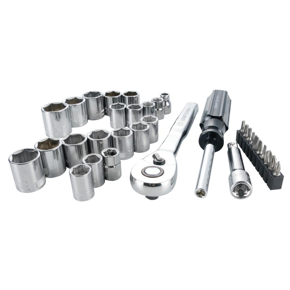CRAFTSMAN 33-Piece Standard (SAE) and Metric Polished Chrome Mechanics Tool Set | CMMT12013