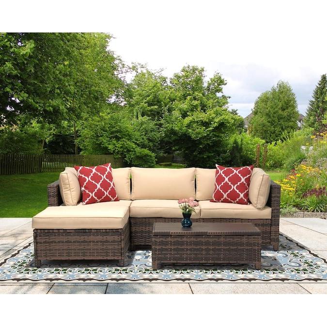 Piece Wicker Patio Sectional Sofa Set, 3 Piece Wicker Patio Conversation Set With Beige Cushions