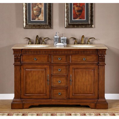 Bath 52 Inch Travertine Top Bathroom Cabinet Double Vanity Dual Bathroom Sink 0180tr Home Garden