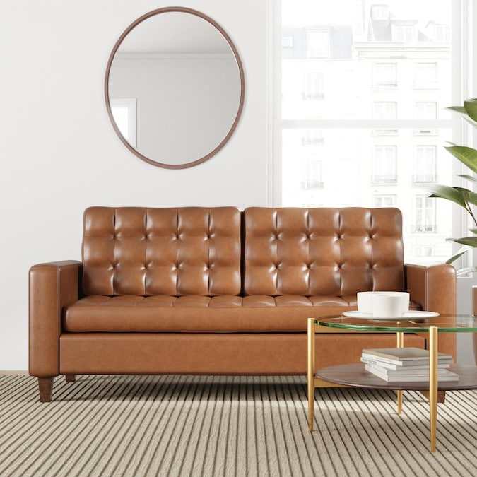 Brookside Brynn Square Arm Sofa With, Square Arm Leather Sofa