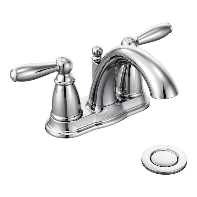 Moen Brantford Chrome 2 Handle 4 In Centerset Watersense Bathroom Sink Faucet With Drain In The Bathroom Sink Faucets Department At Lowes Com