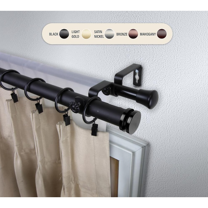 Black Steel Double Curtain Rod, 150 Inch Double Curtain Rod