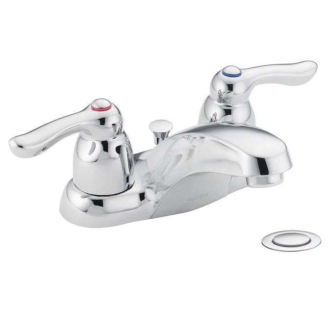 Moen Chateau Chrome 2 Handle 4 In Centerset Watersense Bathroom Sink Faucet With Drain In The Bathroom Sink Faucets Department At Lowes Com