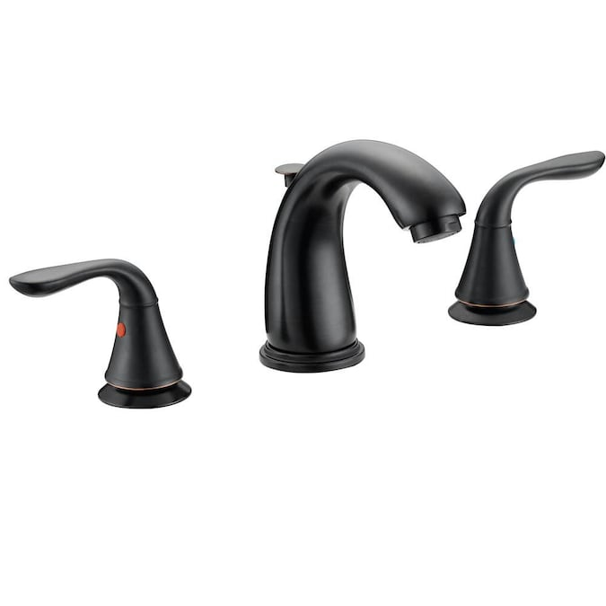 Modern With Press Pop Up Drain Oil Rubbed Bronze 2 Handle Widespread Watersense Bathroom Sink Faucet With Drain In The Bathroom Sink Faucets Department At Lowes Com