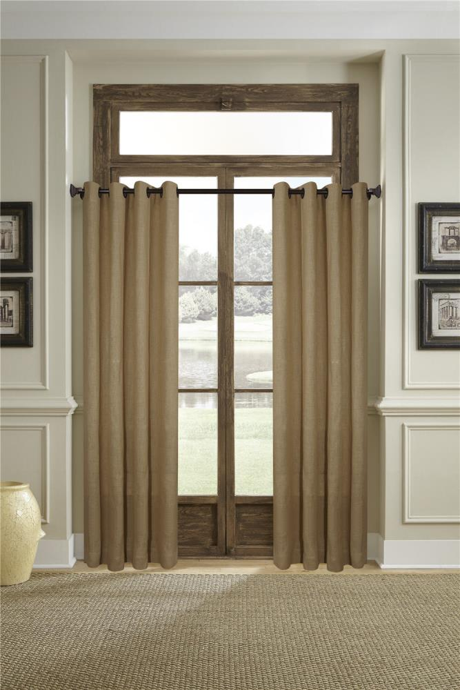 Allen Roth 84 In Tan Burlap Light, Tan And Brown Curtains