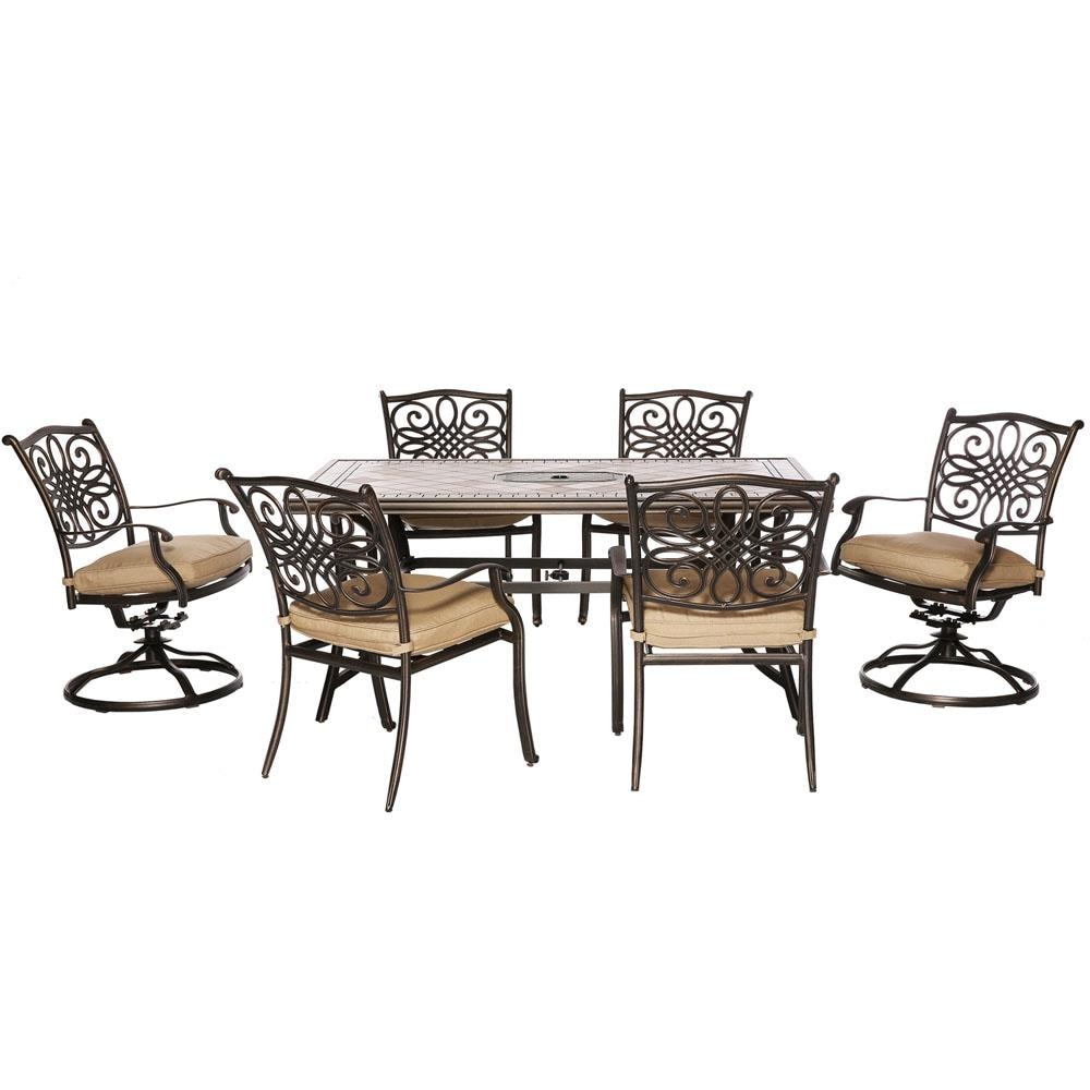 Hanover Monaco 10 Piece Bronze Frame Patio Set with Natural Oat ...