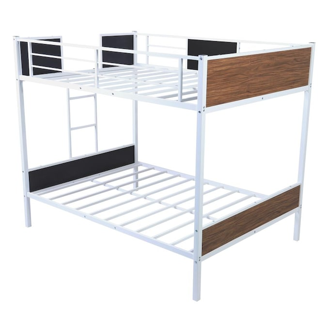 Casainc Full Over Full Bunk Bed Modern Style Steel Frame Bunk Bed With Safety Rail Built In Ladder For Bedroom Dorm Boys Girls Adults White In The Bunk Beds Department At Lowes Com