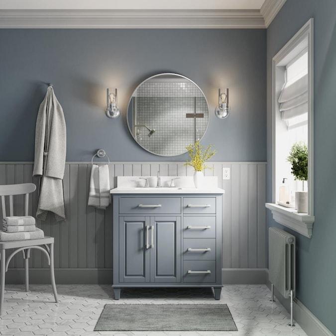 Allen Roth Brookview 36 In Slate Blue Undermount Single Sink Bathroom Vanity With Carrara Engineered Marble Top In The Bathroom Vanities With Tops Department At Lowes Com