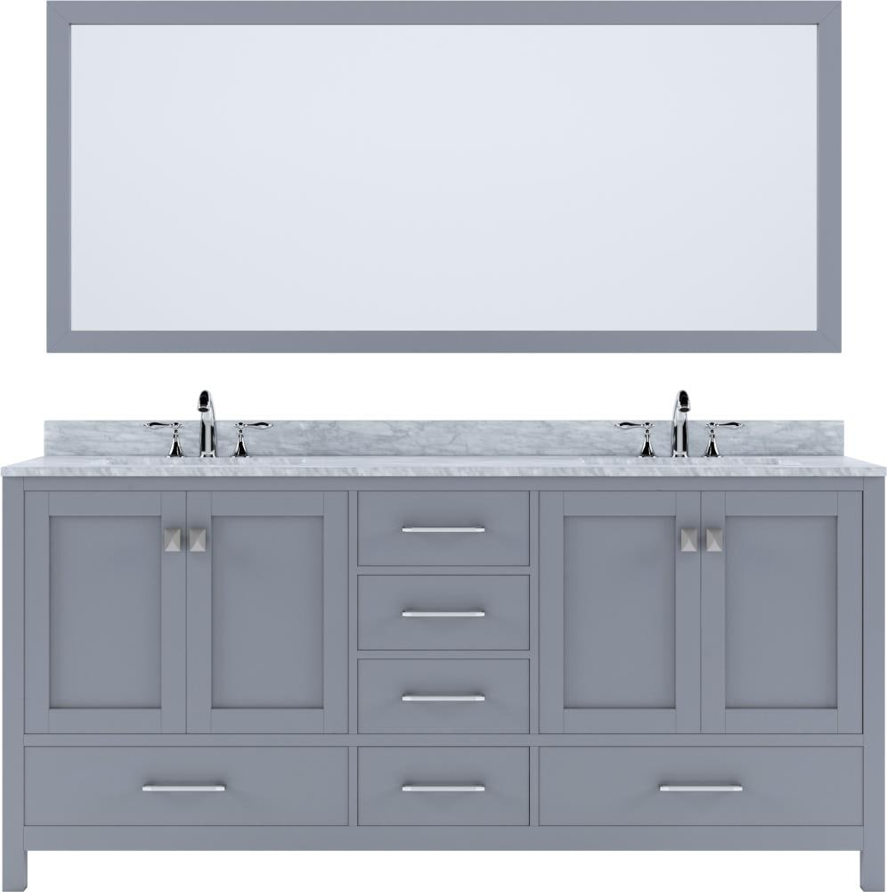 Virtu Usa Caroline Avenue 72 In Gray Undermount Double Sink Bathroom Vanity With Italian Carrara White Marble Top Mirror And Faucet Included In The Bathroom Vanities With Tops Department At Lowes Com
