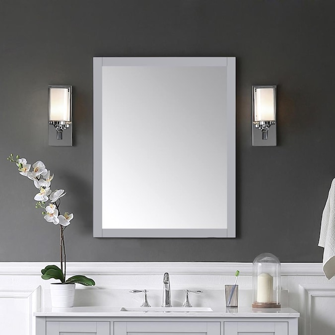 Ove Decors Tahoe 28 In Dove Gray, Rectangular Bathroom Mirror