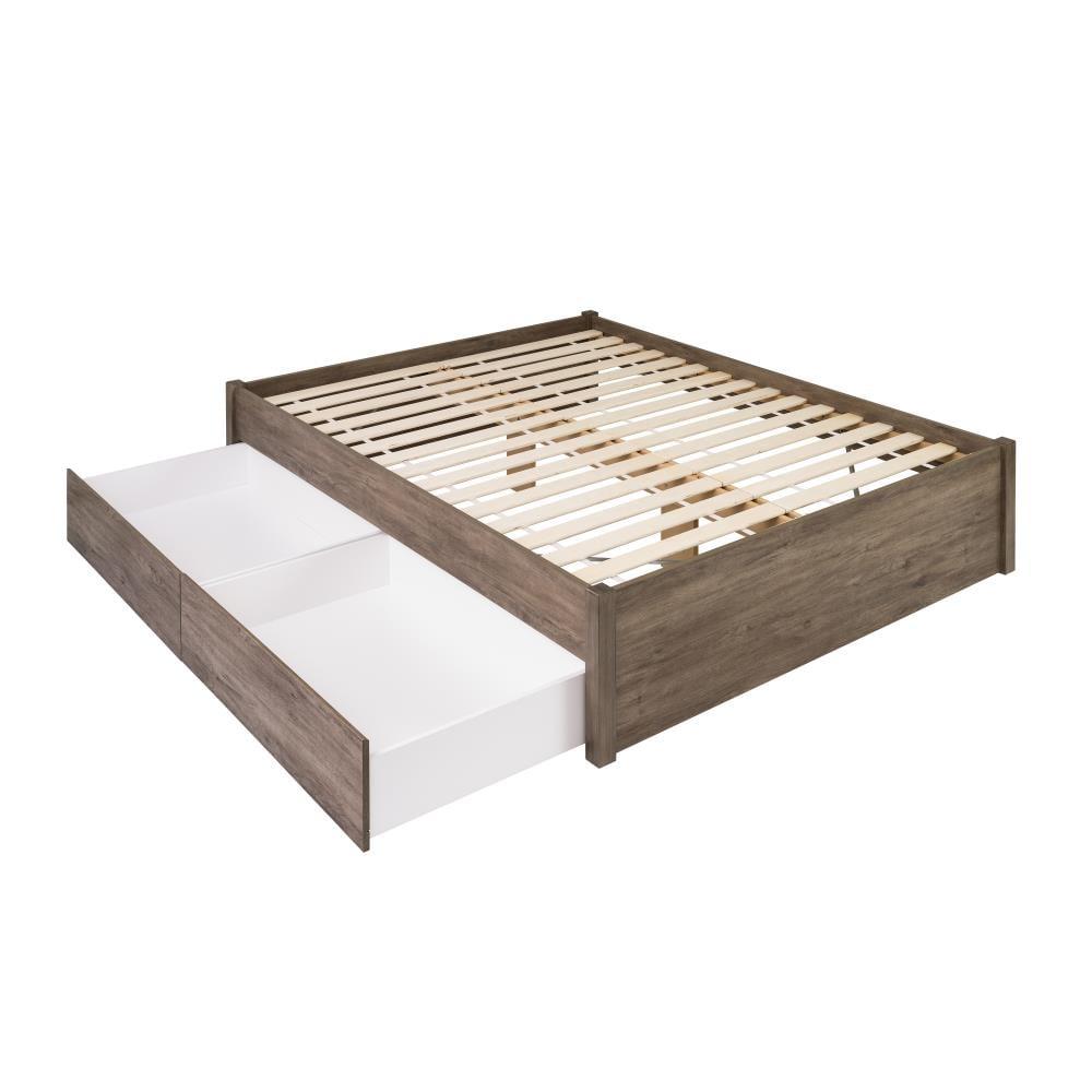 Prepac Select Drifted Gray Queen, Platform Beds With Storage Queen Size Mattress