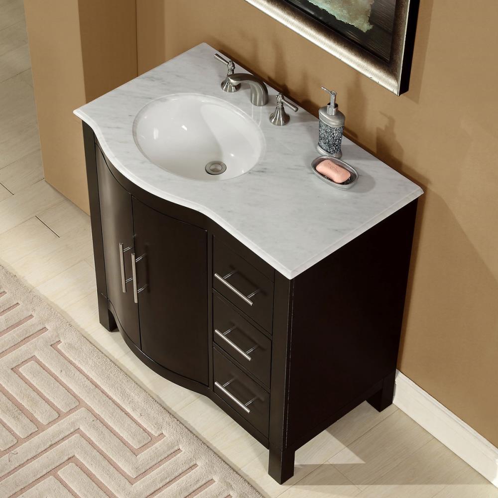 Silkroad Exclusive 36 In Dark Walnut, 36 Bathroom Vanities With Tops