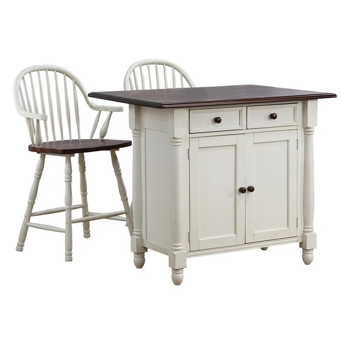 Sunset Trading Andrews Drop Leaf Kitchen Island With Counter Height Stools With Arms Antique White And Chestnut Brown Drawers And Cabinet In The Kitchen Islands Carts Department At Lowes Com
