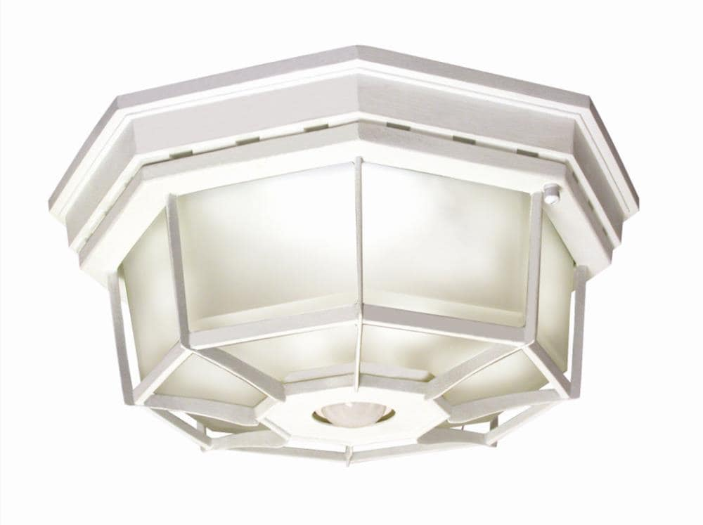 White Outdoor Flush Mount Light, Outdoor Porch Ceiling Lights With Motion Sensor