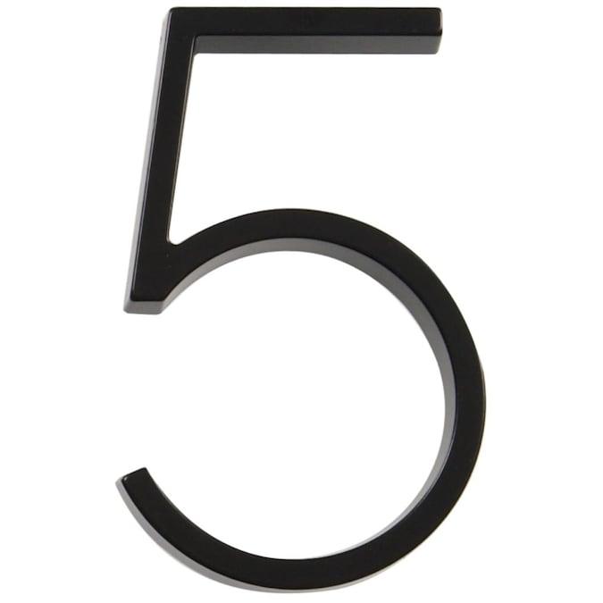 "Hillman Distinctions 5/"" Floating or Flush Mount House Address Numbers Black #5"