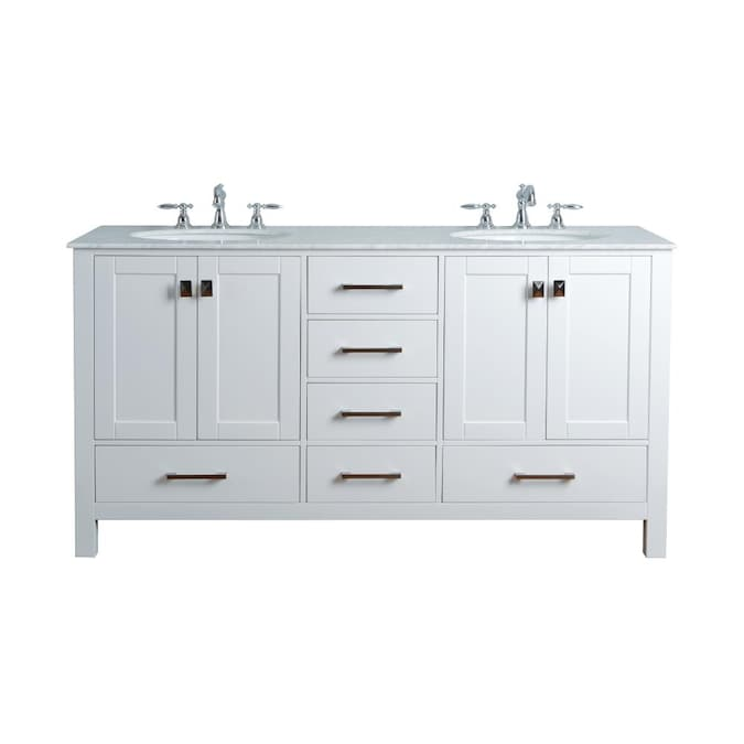 Stufurhome 72 In White Undermount Double Sink Bathroom Vanity With Carrara White Natural Marble Top In The Bathroom Vanities With Tops Department At Lowes Com