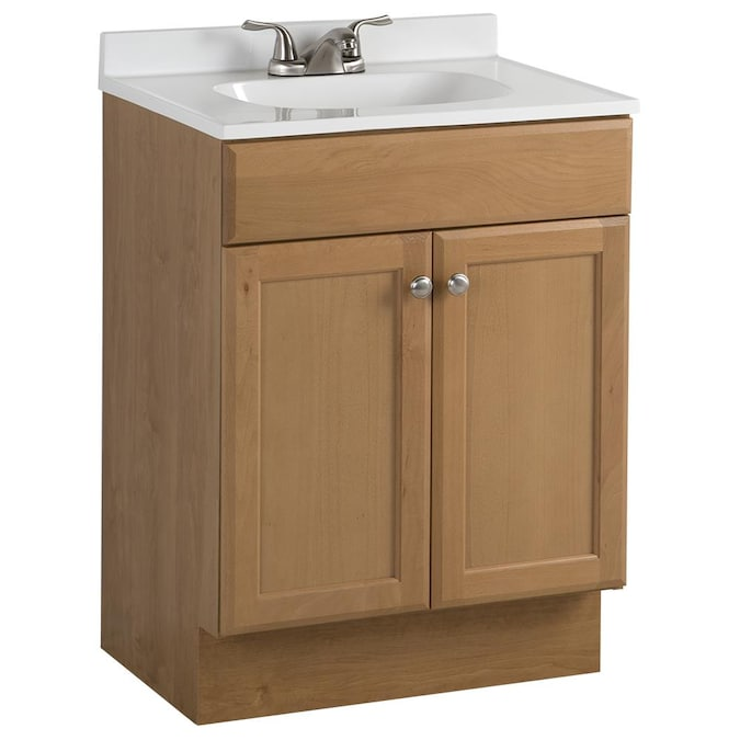 Project Source 24 In Golden Single Sink Bathroom Vanity With White Cultured Marble Top In The Bathroom Vanities With Tops Department At Lowes Com