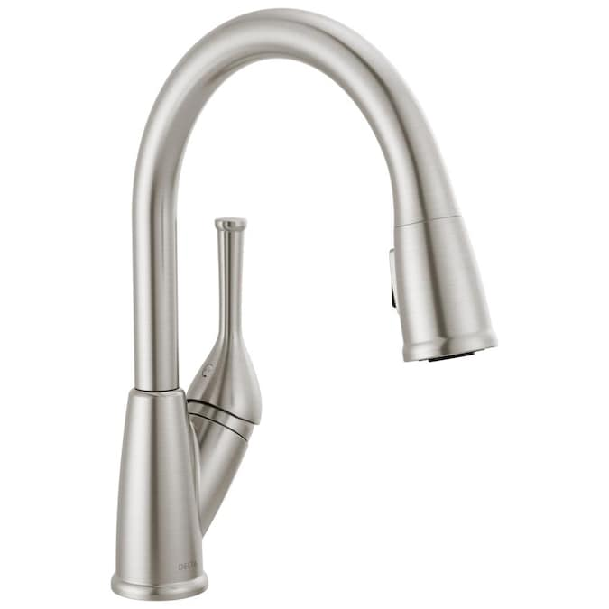 Delta Classic Stainless 1 Handle Deck Mount Pull Down Handle Kitchen Faucet Deck Plate Included In The Kitchen Faucets Department At Lowes Com