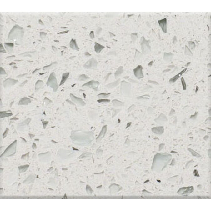Shop Curava Himalaya Recycled Glass White Kitchen Countertop from Lowes on Openhaus
