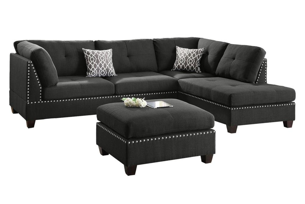 Poundex 3 Piece Viola Black Living Room, Black Living Room Set