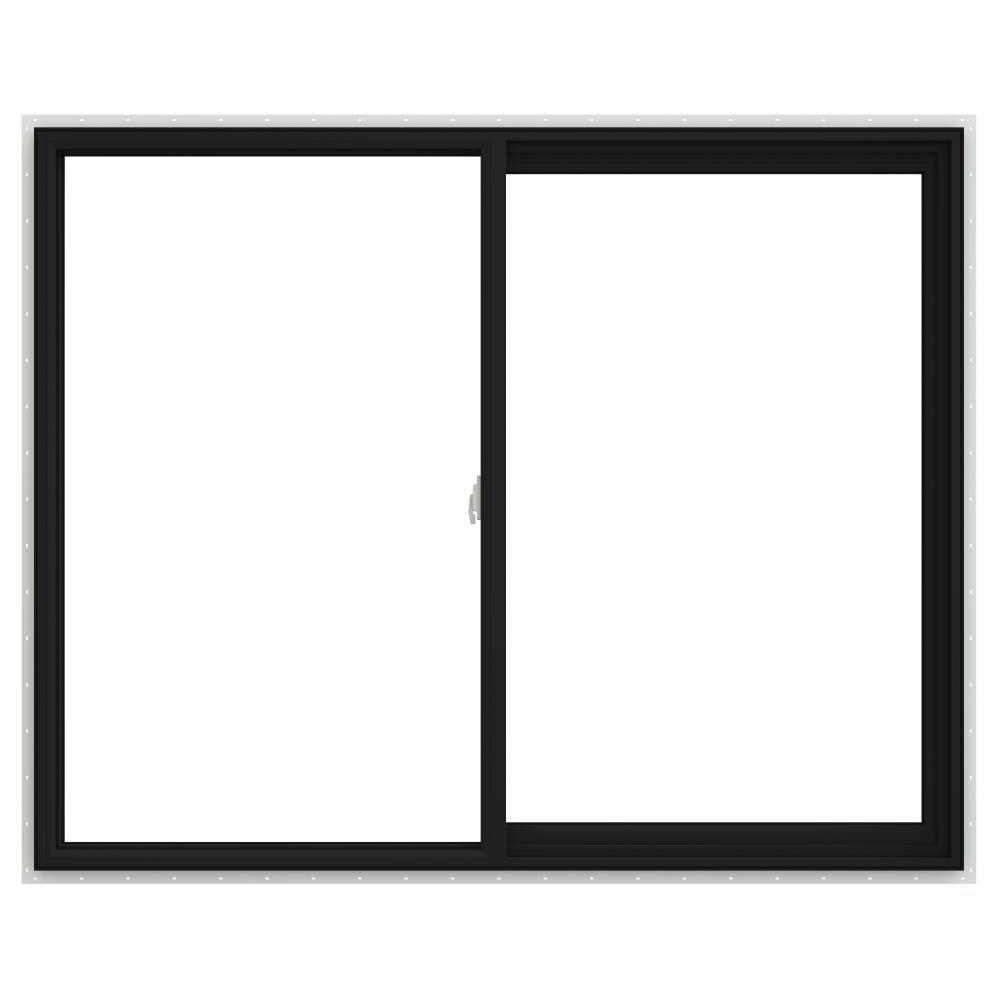 V-2500 59.5-in x 47.5-in x 2.9065-in Jamb Right-operable Vinyl New Construction Egress Black Sliding Window   - JELD-WEN LOWOLJW232900523