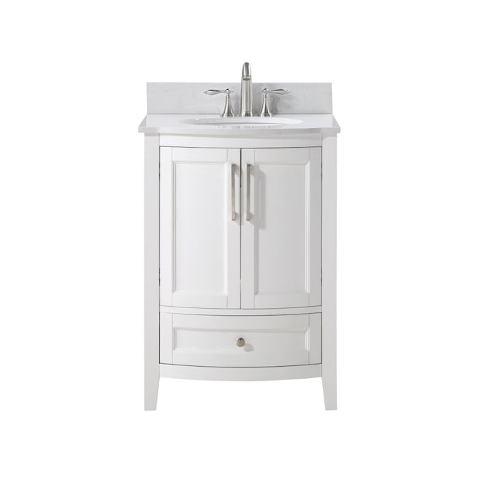 Runfine Harper 24 In White Undermount Single Sink Bathroom Vanity With Carrara Cultured Marble Cultured Marble Top In The Bathroom Vanities With Tops Department At Lowes Com