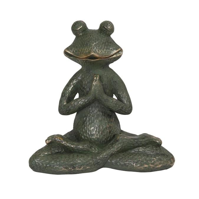 W Gray Frog Garden Statue, Metal Frog Garden Decor
