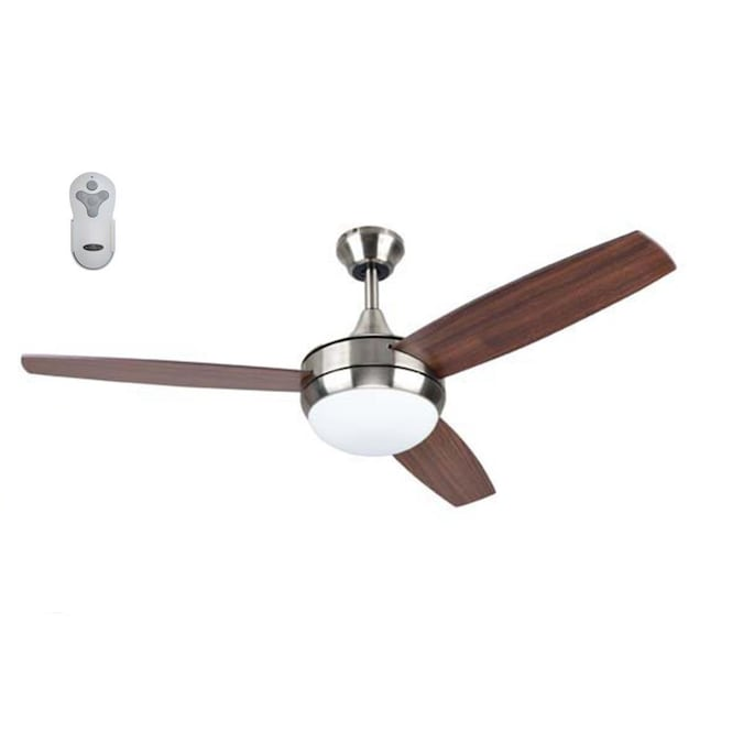 Harbor Breeze Beach Creek 52 In Brushed Nickel Led Ceiling Fan With Remote 3 Blade In The Ceiling Fans Department At Lowes Com
