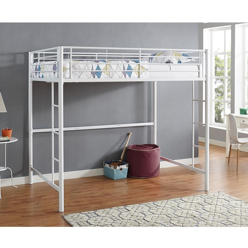 Walker Edison White Full Loft Bunk Bed In The Bunk Beds Department At Lowes Com