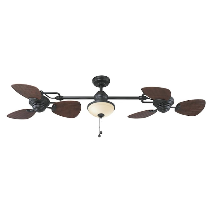 Harbor Breeze Twin Breeze Ii 74 In Oil Rubbed Bronze Indoor Outdoor Ceiling Fan 6 Blade In The Ceiling Fans Department At Lowes Com