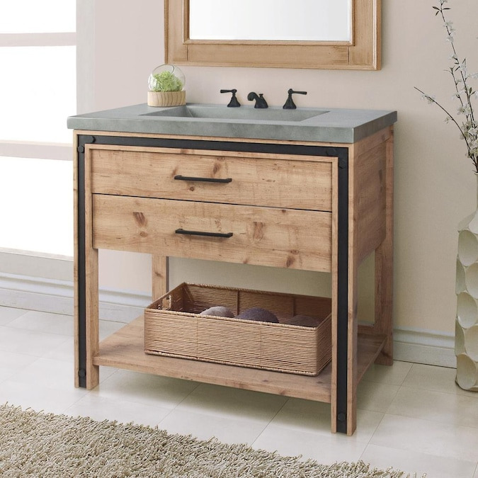 Saint Birch 36 In Natural Single Sink Bathroom Vanity With Gray Solid Surface Top In The Bathroom Vanities With Tops Department At Lowes Com