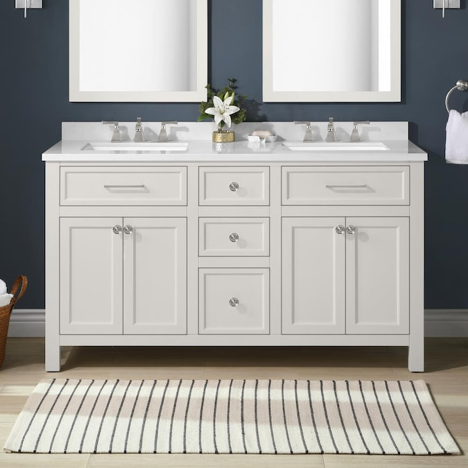 Martha Stewart Oakland 60 In White, Double Sink Bathroom Vanity Without Top