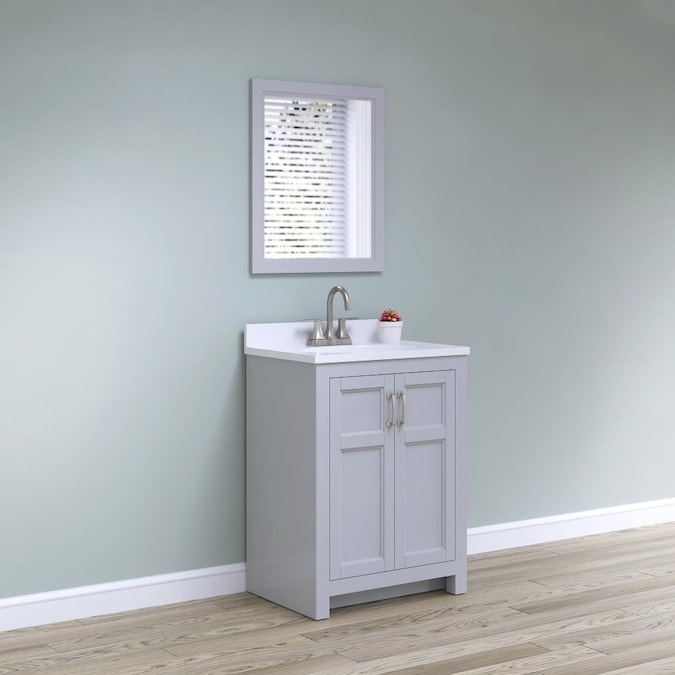 Style Selections 25 In Light Gray Single Sink Bathroom Vanity With White Acrylic Top Mirror Included In The Bathroom Vanities With Tops Department At Lowes Com