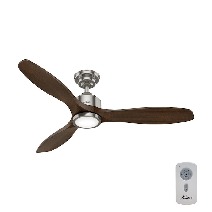 Hunter Melbourne 52 In Brushed Nickel Led Ceiling Fan With Remote 3 Blade In The Ceiling Fans Department At Lowes Com