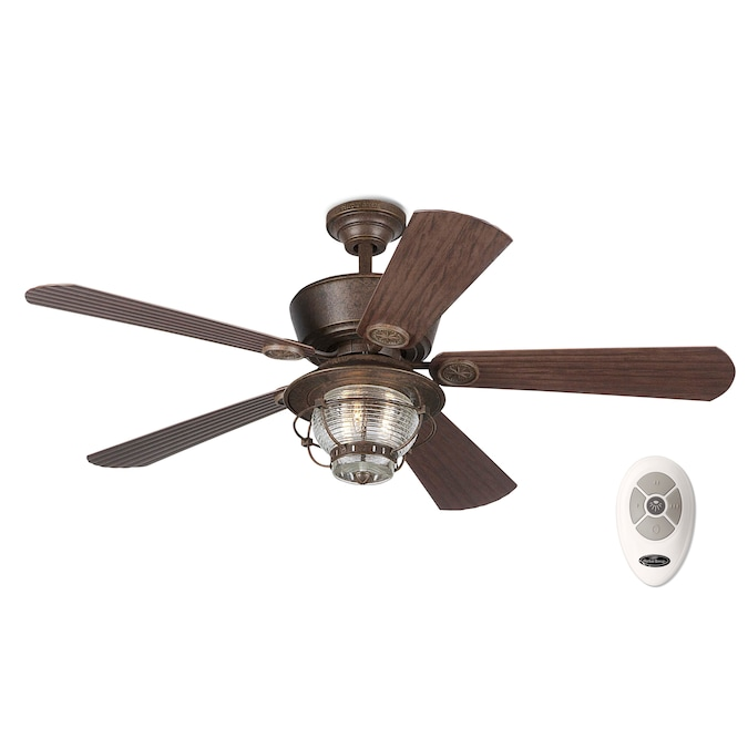 Harbor Breeze Merrimack 52 In Antique Bronze Ceiling Fan With Remote 5 Blade In The Ceiling Fans Department At Lowes Com