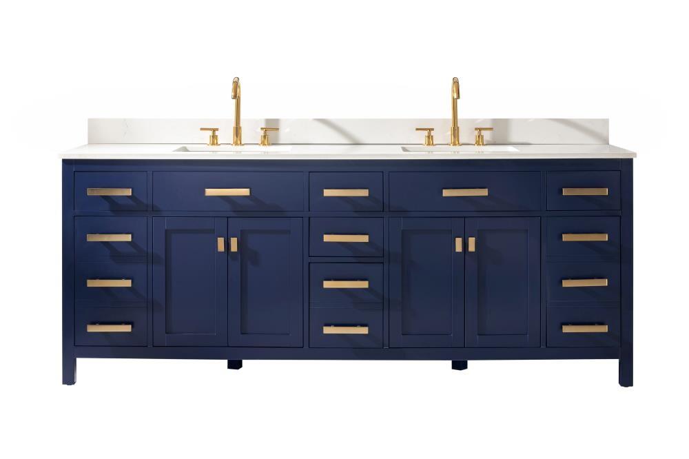 Design Element Valentino 84 In Blue Undermount Double Sink Bathroom Vanity With White Quartz Top In The Bathroom Vanities With Tops Department At Lowes Com