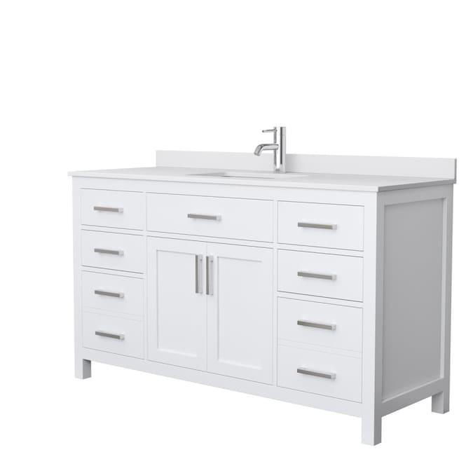 Wyndham Collection Beckett 60 In White, White Bathroom Cabinets