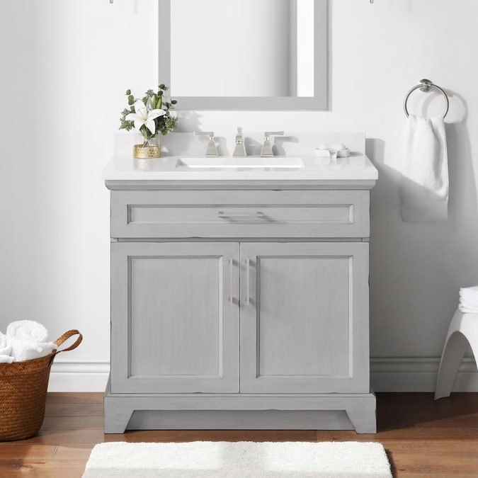 Allen Roth Felix 36 In Vintage Gray Undermount Single Sink Bathroom Vanity With White Engineered Stone Top In The Bathroom Vanities With Tops Department At Lowes Com