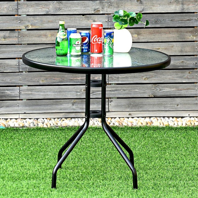 Round Tempered Glass Top Outdoor Patio, Round Glass Patio Table